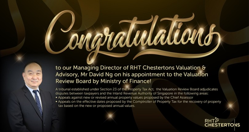 Congratulations to our Managing Director of RHT Valuation & Advisory, Mr David Ng on his appointment to the Valuation Review Board by Ministry of Finance!